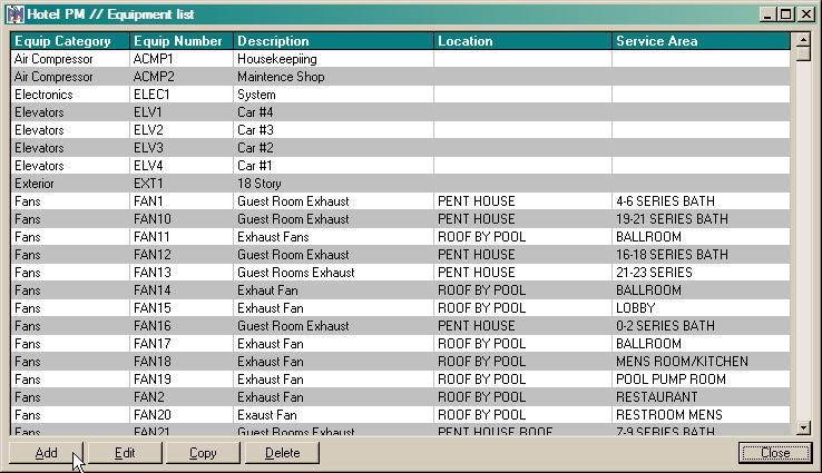 list of equipment